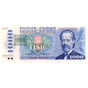 ČR 1000 Kčs 1993/1985 Kolek Tisk
