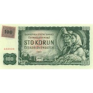 ČR  100 Kčs 1993/1961 kolkovaná bankovka