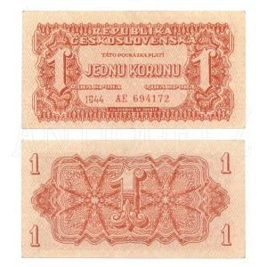 ČSR 1K - Jedna koruna 1944 Neperf. s. AE