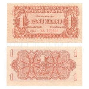 ČSR 1K - Jedna koruna 1944 Neperf. s. EK