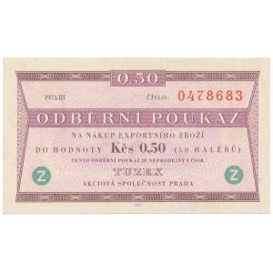 "Tuzex bon 0,50 Kčs 1973/III, ""Z"""